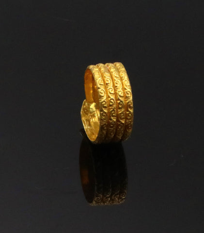 Certified solid 22kt carat yellow gold handmade unique traditional antique design ring band indian tribal jewelry unisex gifting item