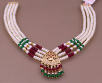 Handmade genuine 22kt yellow gold handmade gorgeous necklace set with fabulous color beads , wedding tribal rajput punjabijewelry india