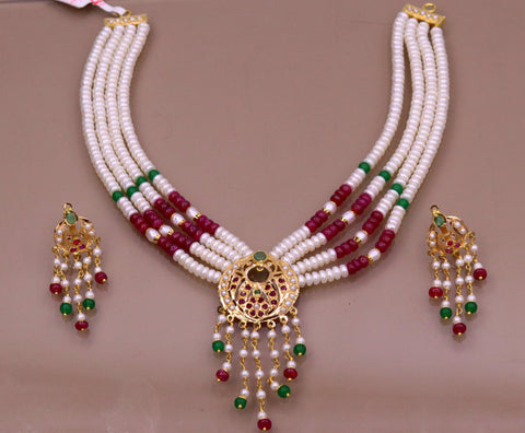 Vintage design handmade 22kt yellow gold fabulous necklace set with amazing hanging color beads, wedding party tribal jewelry india