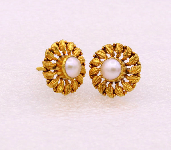 Vintage antique design certified 22kt yellow gold flower shape leaf design handmade stud earring gorgeous tribal jewelry india