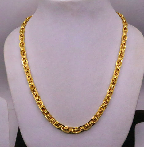 22karat yellow gold fabulous handmade designer chain necklace link chain stylish unisex jewelry from india ch215