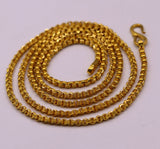 solid 22karat yellow gold handmade amazing rolo link chain necklace unisex 24 inches long chain gifting collection from india ch216
