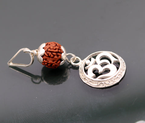 Vintage antique solid silver handmade aum pendant with natural rudraksh beads pendant jewelry nsp90