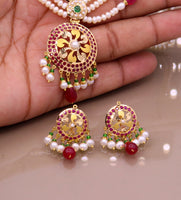Certified 22kt yellow gold handcrafted necklace set with amazing hanging color beads ruby emerald pearl wedding party tribal jewelry india