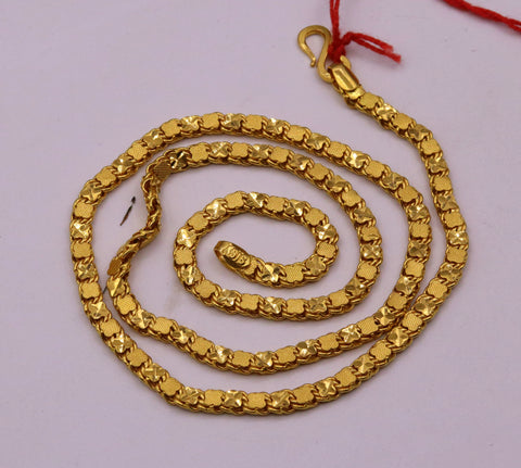 Gorgeous 22kt yellow gold solid excellent design chain necklace handcrafted Indian jewelry gifting ideas ch214
