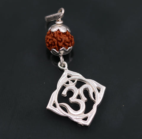 Vintage antique design solid silver handmade aum pendant with natural rudraksh beads pendant jewelry nsp91