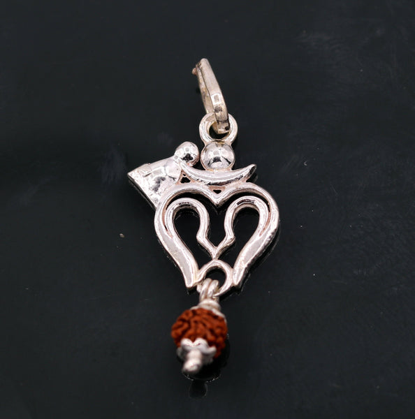 Amazing Lord shiva trident with real rudraksha beads solid silver pendant unisex jewelry tribal jewelry from Rajasthan india nsp94