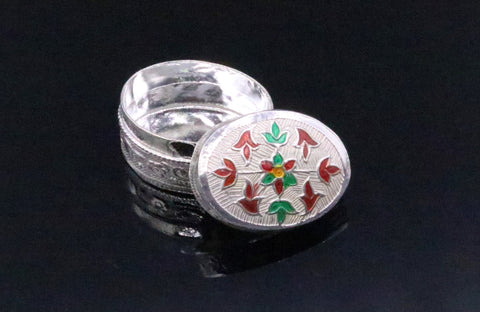 Handmade 925 sterling silver solid trinket box casket box container cigar box color enamel collectible pieces trnk09