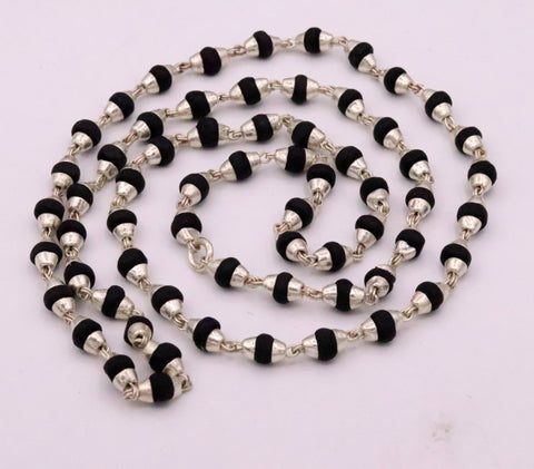 Handmade Sterling silver black basil rosary wood beads chain necklace for meditation excellent unisex tulsimala from india ch40
