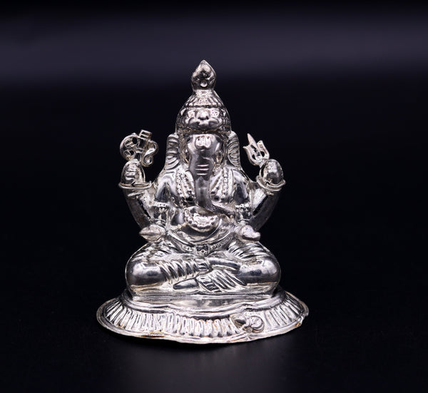 Indian idol lord Ganesha statue Sterling silver handmade gorgeous sculpture for Diwali puja home temple article from Rajasthan India sst02