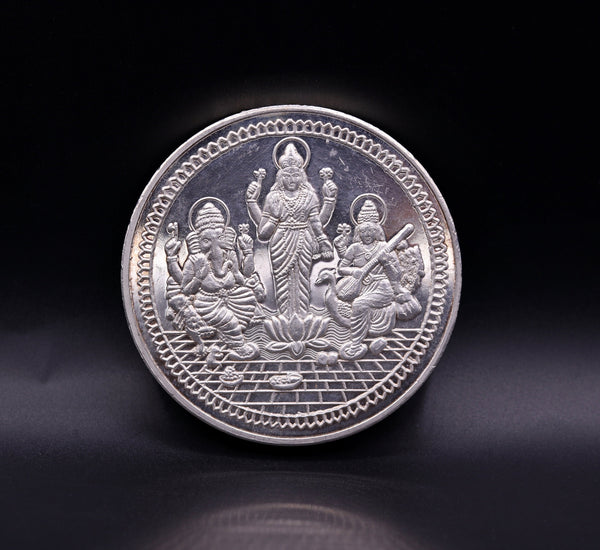 999 solid silver amazing Indian idol lord Ganesha laxmi and sarashwati print 200 grams coin amazing gifting and collcetible coin sst03