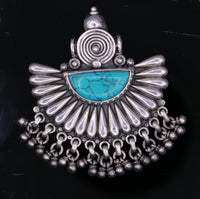 Vintage antique design handmade 925 sterling silver fabulous turquoise stone hanging bells pretty pendant wedding women's jewelry nsp126