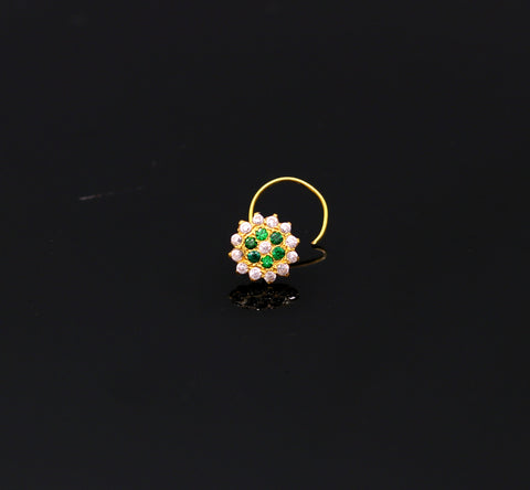 18kt yellow gold handmade fabulous green color stone cubic zircon nose stud,excellent women girls daily use jewelry from Rajasthan gnp16