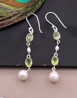 925 sterling silver handmade hoops earrings with pretty lemon quartz stone drop dangle stylish modern jewelry from india s318