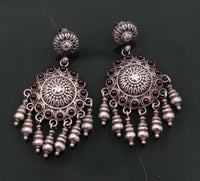Vintage design 925 sterling silver handmade fabulous Stud earrings with hanging tribal jewelry belly dance india s502