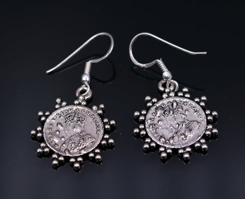 Handmade  925 sterling silver solid hoops earring drop dangle coin design antique stylish tribal earrings from india s472