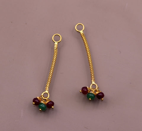 22kt yellow gold handmade fabulous Stud earrings jack or jacket for stud dangling or hanging amazing color beads Earring hanging