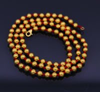 Handmade gold 20kt yellow gold ball beads stylish wedding parties necklace chain fabulous indian tribal jewelry from india