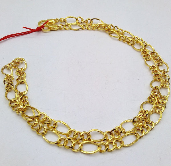 22kt yellow gold handmade fabulous light weight chain necklace unisex gifting figaro link chain certified royal india made chain necklace