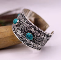 Vintage design 925 sterling silver handmade gorgeous adjustable bangle bracelet stylish turquoise modern solid kada gifting jewelry nsk117