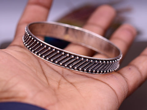 Vintage antique design 925 sterling silver stylish bangle bracelet kada tribal belly dance gifting jewelry from india nsk131