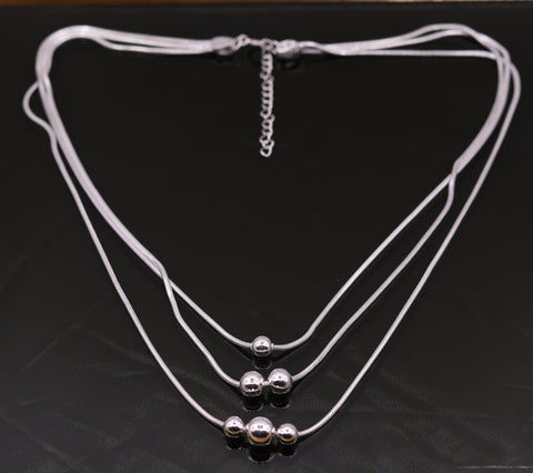 Vintage handmade 925 sterling silver three line chain necklace set , excellent charm necklace belly dance tribal jewelry from india set75