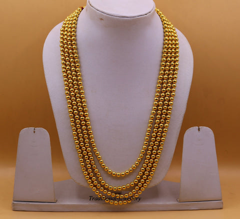 22 karat yellow Gold handmade fabulous 4 line string four layer bead necklace gorgeous unisex wedding necklace jewelry from India