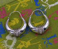 vintage antique style 925 sterling silver ethnic hoops earrings kundal bali tribal belly dance custom made jewelry from india s578