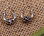 925 sterling pure silver handmade vintage style fabulous unisex hoops earrings kundal, ethnic bali tribal jewelry from india s586