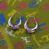 Pure 925 sterling silver handmade vintage ethnic style hoops earrings kundal,ethnic pretty bali tribal belly dance jewelry from india s591
