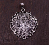 Excellent design handmade 925 sterling silver fabulous flower shape pendant tribal temple jewelry from india nsp201