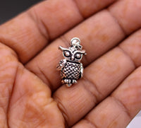 Fabulous tiny pendant  925 sterling silver handmade excellent design owl pendant unisex gifting hip hop jewelry from india nsp220
