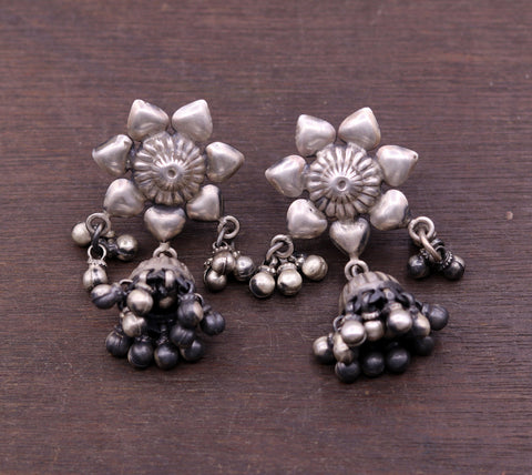 925 Sterling silver handmade vintage flower design stud earrings tribal belly dance chandelier earrings gifting jewelry from india s557