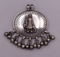 925 sterling silver handmade fabulous vintage tribal design deity pendant necklace from Rajasthan India with bells tribal jewelry nsp238