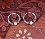 Vintage traditional design handmade 925 sterling silver gorgeous hoops bali earrings from india, tribal belly dance jewelry s619