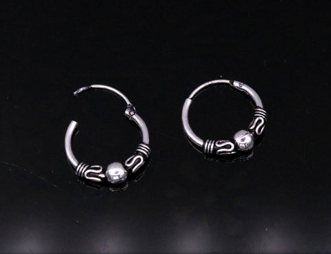 Handmade Traditional design 925 sterling silver gorgeous hoops bali earrings from india, tribal belly dance jewelry s620