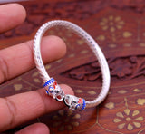 Handmade Elephant face design Sterling silver pretty work bangle bracelet kada, adjustable gorgeous stylish bangle tribal jewelry nsk194