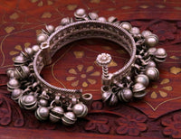 Vintage antique old traditional ancient used sterling silver charm bangle bracelet kada with amazing noisy bells tribal belly dance ba36