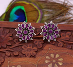Pure 925 sterling silver handmade awesome flower shape red color stone stud earring, modern stylish stud excellent gifting to women's s655