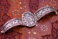 925 sterling silver Indain Traditional handcrafted vintage design chitai work bangle bracelet kada cuff bracelet for women's gifting nsk226