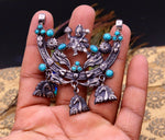 925 Sterling silver handmade vintage ethnic style lord Hanuman pendant amazing turquoise stone pendant tribal belly dance jewelry nsp297