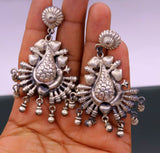 925 sterling silver handmade fabulous peacock stud earring dangle hanging drops bells, vintage design tribal jhumki belly dance jewelry s759