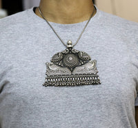 Vintage trendy style 925 sterling silver handmade large peacock pendant charm necklace tribal ethnic Banjara Boho jewelry from india nsp331