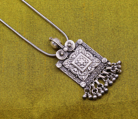 Indian ethnic charm pendant amazing hanging bells 925 sterling silver tribal trendy stylish modern necklace ethnic boho jewelry insp350