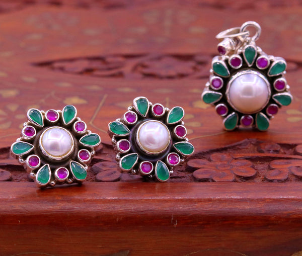 925 sterling silver fabulous pendant with earrings fabulous green and red stone pearl pendant Stud earring excellent gifting jewelry s665