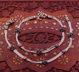 "10.5"" inches long  925 Sterling silver vintage rose flower design anklets foot bracelet with gorgeous hangings ,gifting tribal jewelry ank63"