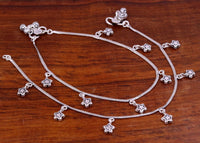 Pure 925 sterling silver handmade charm anklets pair, fabulous anklets bracelet, stylish fancy design ankle charm bracelet india ank92
