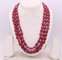 Vintage antique design handmade gorgeous Red Quartz three line necklace, excellent beaded charm necklace tribal jewelry from india qd01