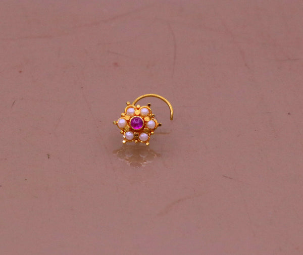 6 white pearl and red stone fabulous 20kt yellow gold nose pin nose stud Indian vintage antique design handmade tribal jewelry gnp25