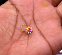 Awesome 6 white pearl and red stone 20kt yellow gold nose pin nose stud Indian vintage antique design handmade tribal jewelry gnp26
